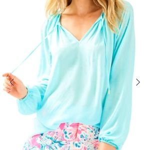 Lilly Pulitzer Willa Top in Serene Blue NWT XL
